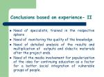 conclusions based on experience ii