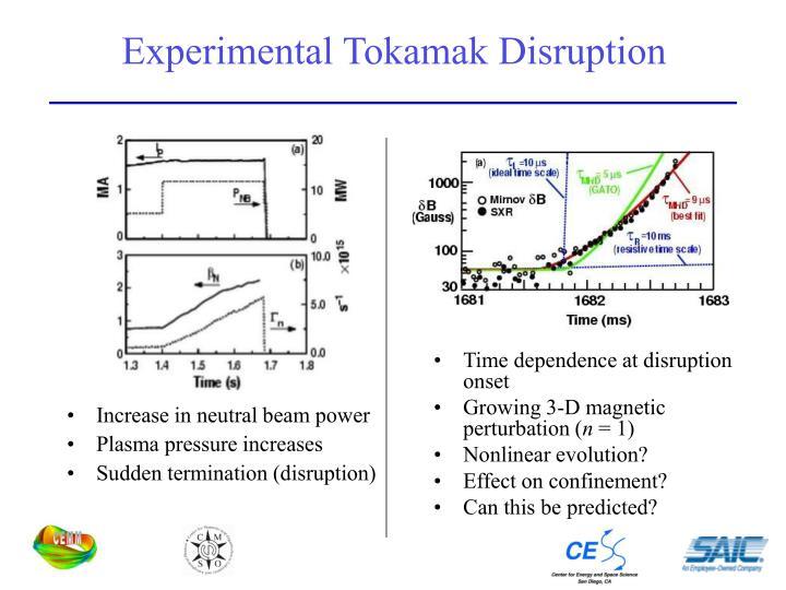 Experimental Tokamak Disruption