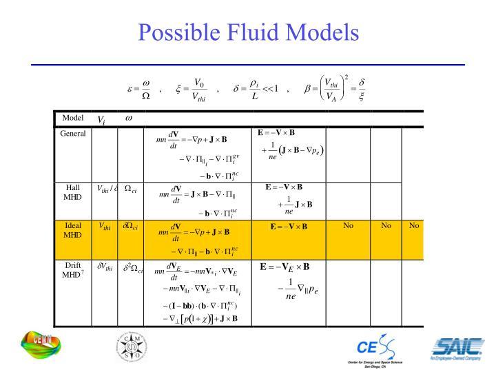 Possible Fluid Models