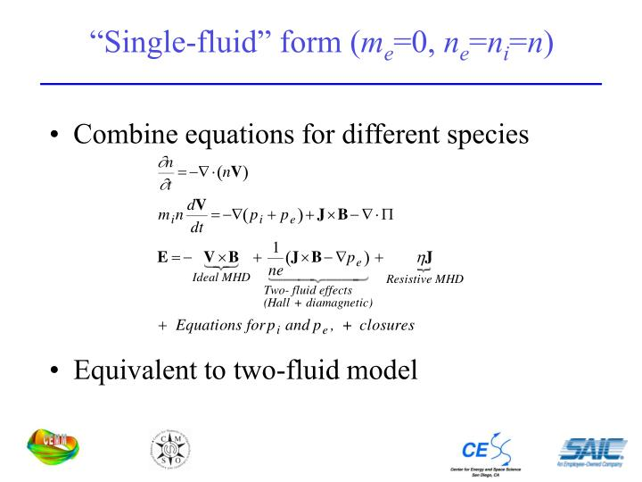 """Single-fluid"" form ("