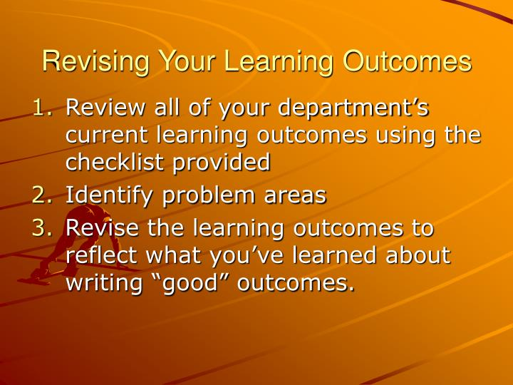 Revising Your Learning Outcomes