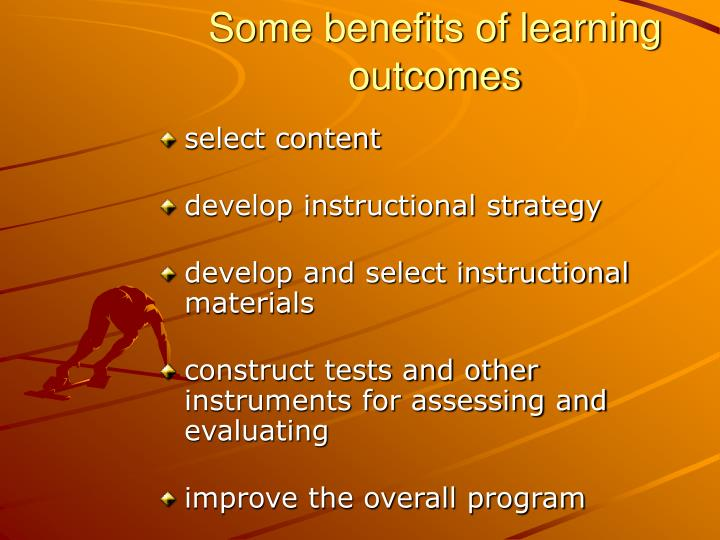 Some benefits of learning outcomes