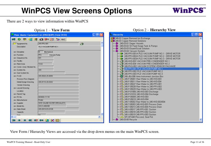WinPCS View Screens Options