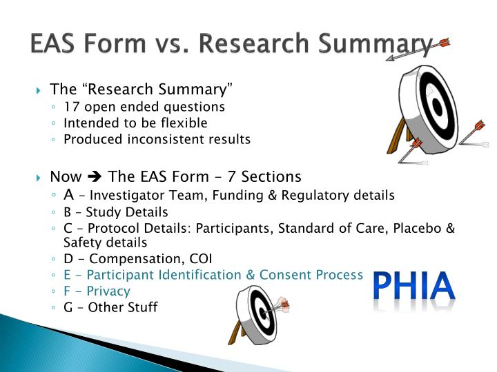 EAS Form vs. Research Summary