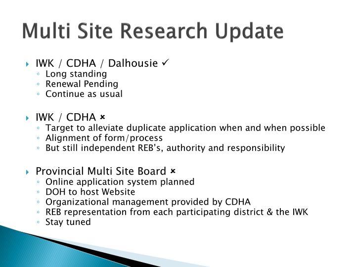 Multi Site Research Update