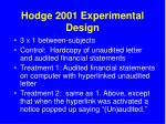 hodge 2001 experimental design