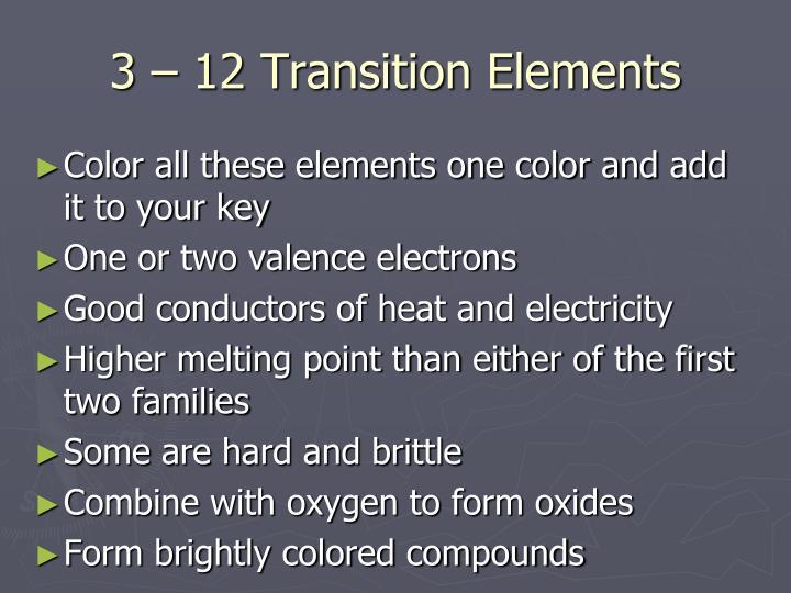 3 – 12 Transition Elements