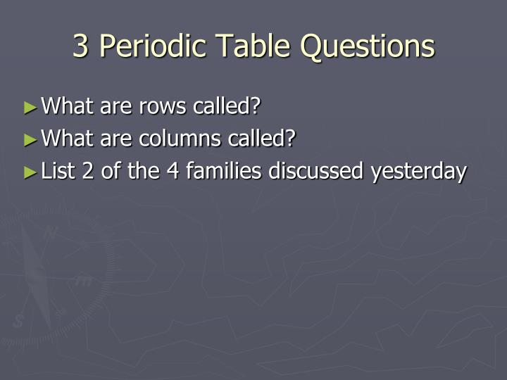 3 Periodic Table Questions