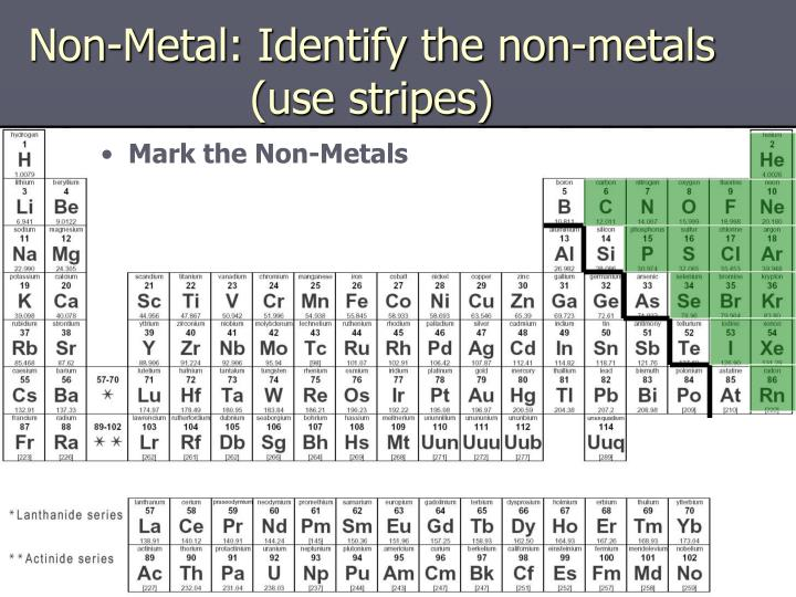 Non-Metal: Identify the non-metals (use stripes)