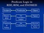 predicate logic in rdf rim and snomed