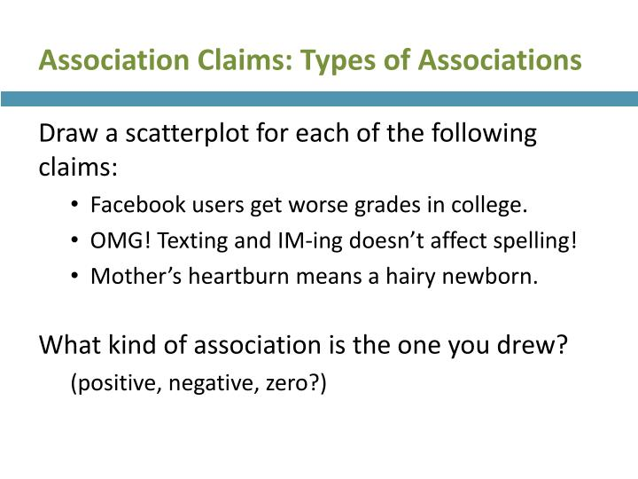 Association Claims: Types of Associations