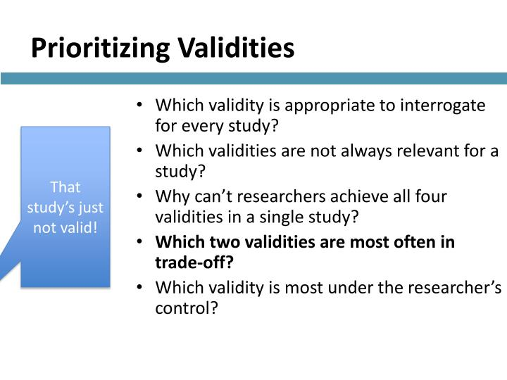 Prioritizing Validities