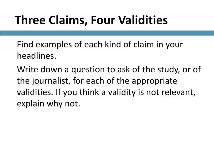 Three Claims, Four Validities