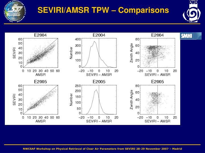SEVIRI/AMSR TPW – Comparisons