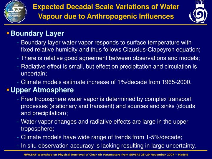 Expected Decadal Scale Variations of Water Vapour