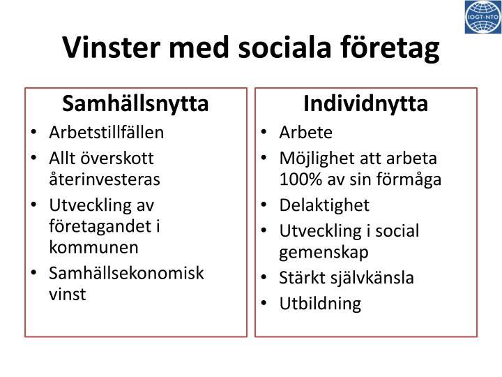 Vinster med sociala företag