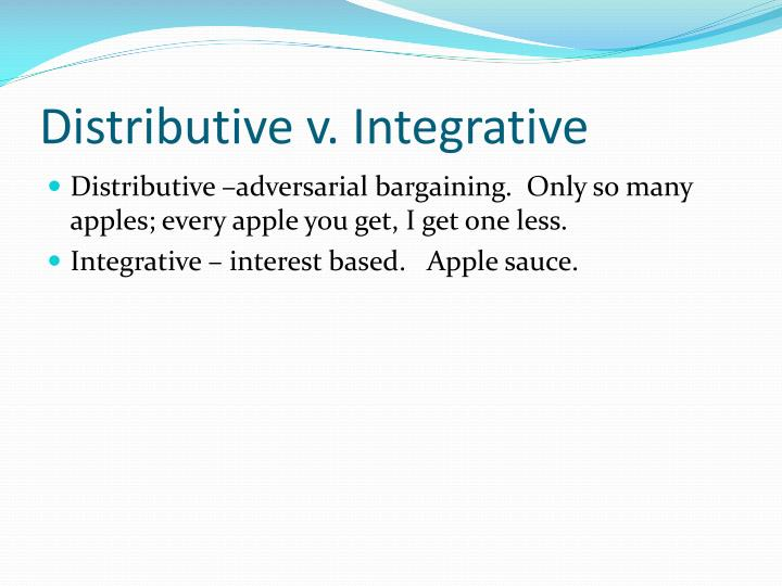 characteristics of distributive and integrative bargaining Free essay: difference between distributive and integrative bargaining raymond yang garcia 1) the difference between distributive and integrative bargaining.