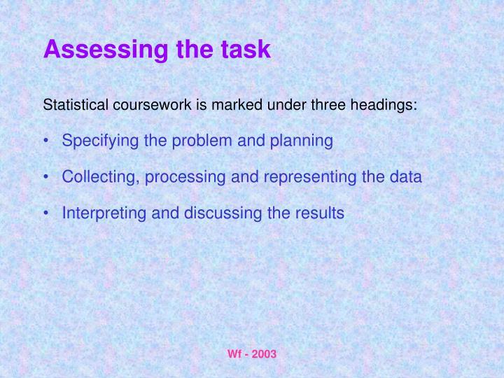 Assessing the task