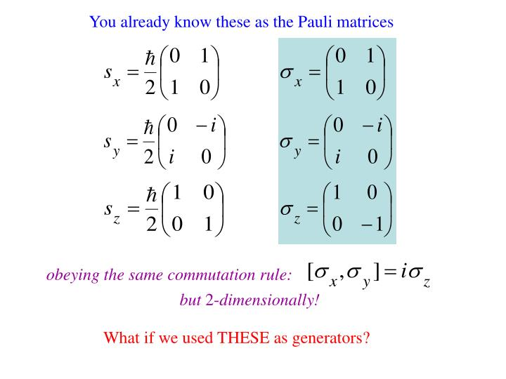 You already know these as the Pauli matrices