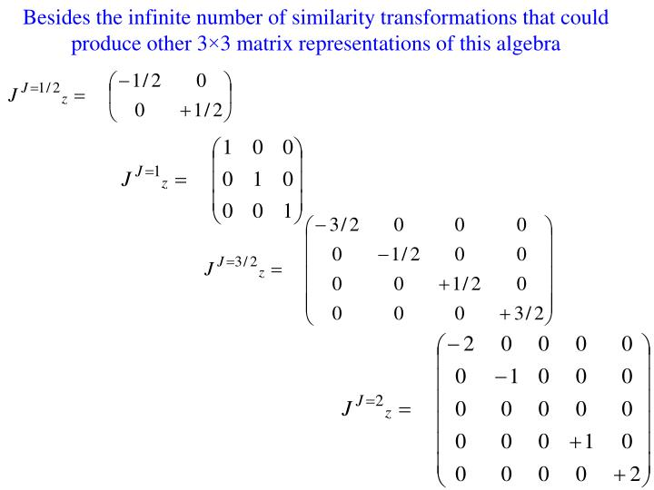 Besides the infinite number of similarity transformations that could