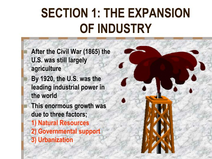 Section 1 the expansion of industry