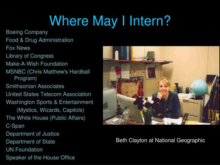 Where May I Intern?