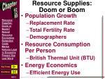 resource supplies doom or boom