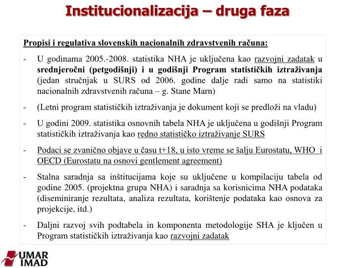 Institucionalizacija – druga faza