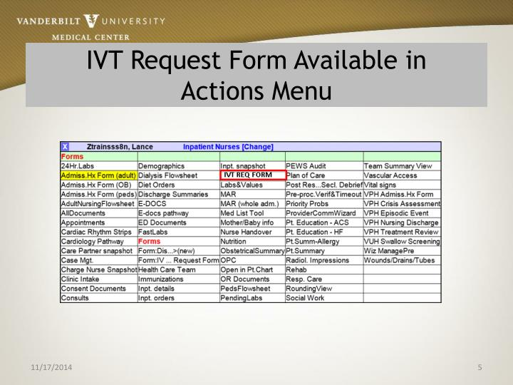 IVT Request Form Available in
