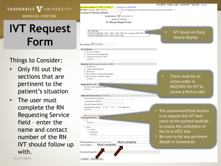 Ivt request form