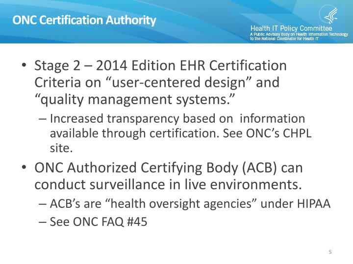 ONC Certification Authority