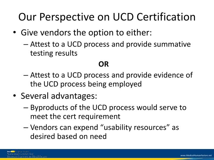 Our Perspective on UCD Certification