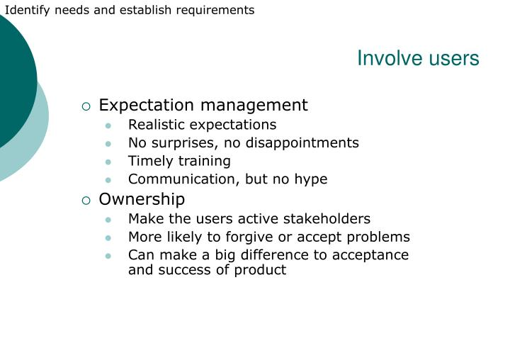 Identify needs and establish requirements