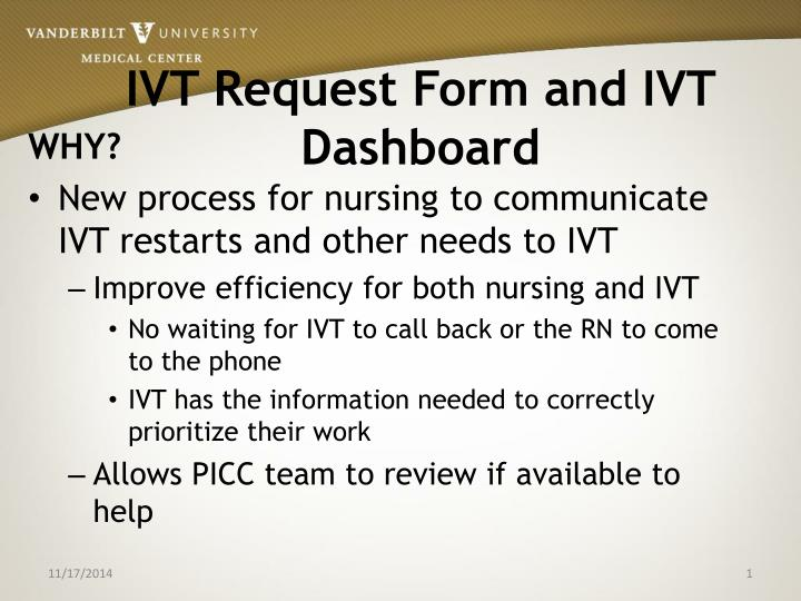 ivt request form and ivt dashboard n.