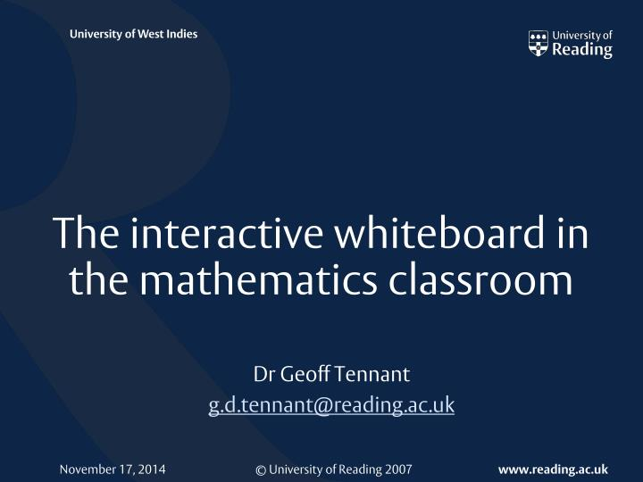 the interactive whiteboard in the mathematics classroom n.