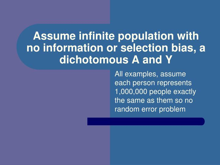 Assume infinite population with no information or selection bias, a dichotomous A and Y