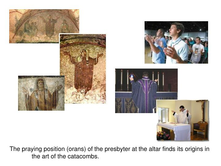 The praying position (orans) of the presbyter at the altar finds its origins in