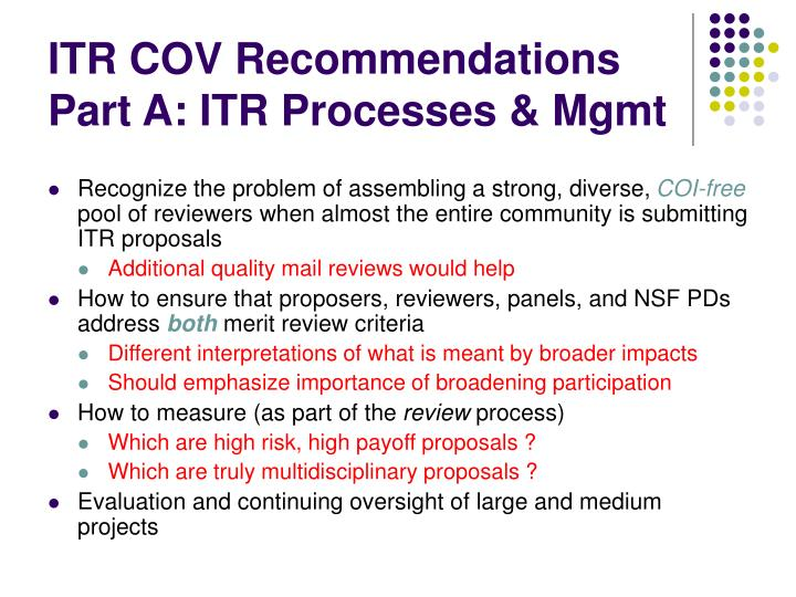 ITR COV Recommendations