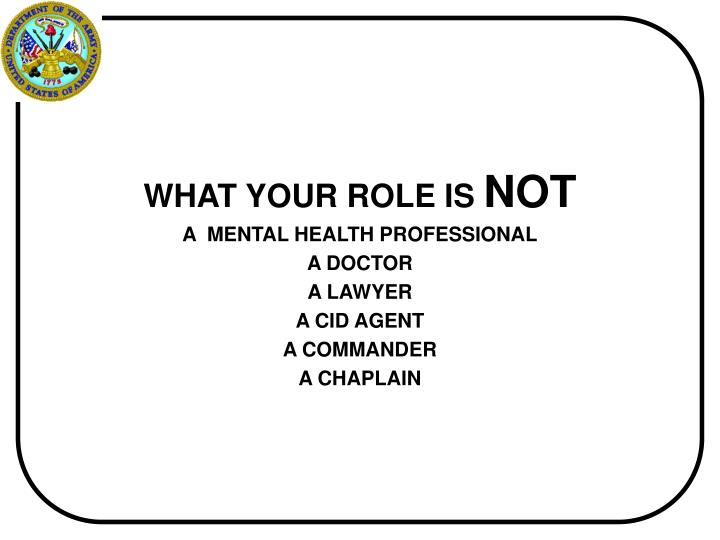 WHAT YOUR ROLE IS