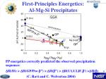first principles energetics al mg si precipitates
