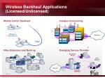 wireless backhaul applications licensed unlicensed