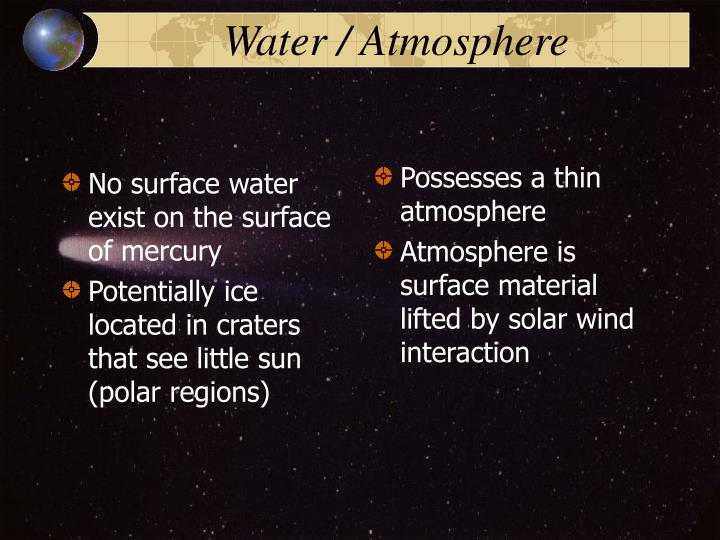No surface water exist on the surface of mercury