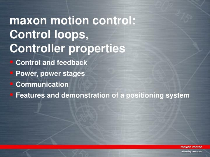 maxon motion control control loops controller properties n.