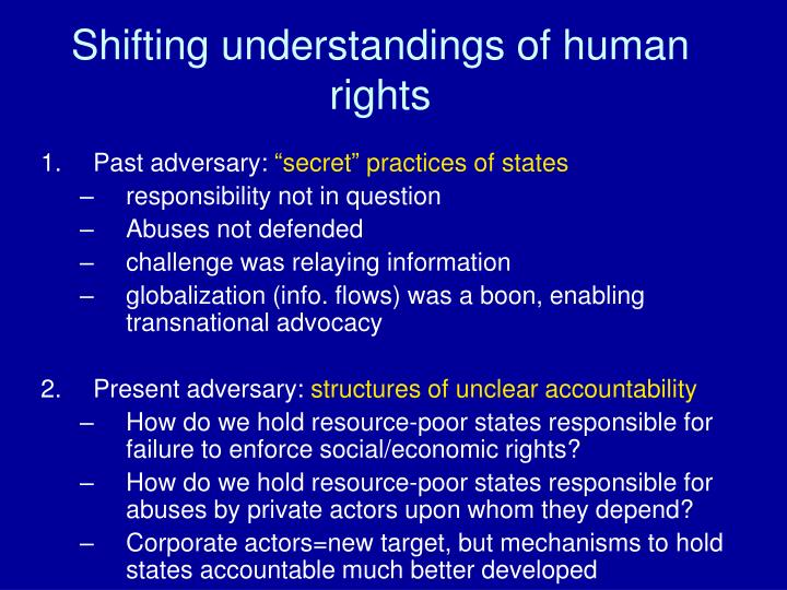 Shifting understandings of human rights