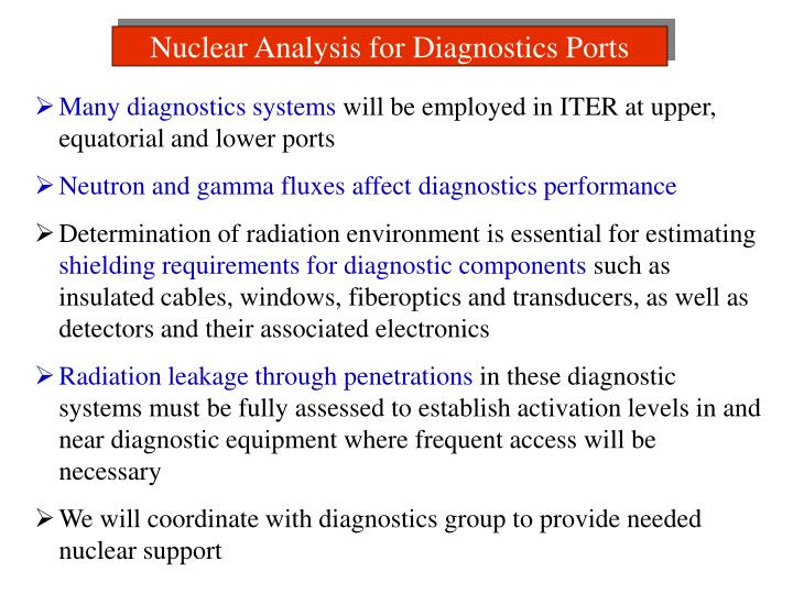 Nuclear Analysis for Diagnostics Ports