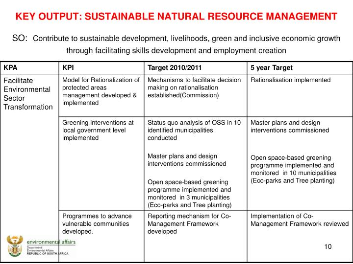 Key Output: Sustainable Natural Resource Management