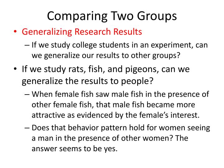 Comparing Two Groups
