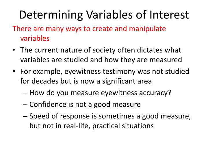 Determining variables of interest
