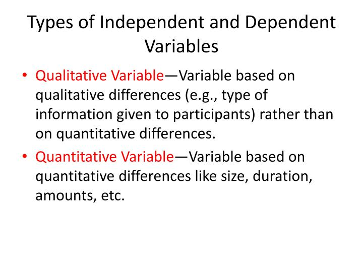Types of Independent and Dependent Variables