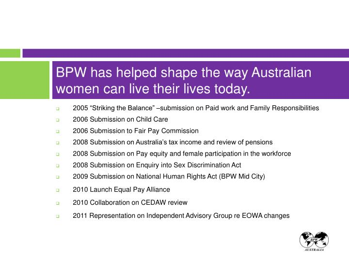 Bpw has helped shape the way australian women can live their lives today